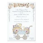 Elegant Romantic Floral Baby Buggy Shower Card