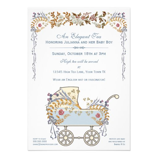 elegant romantic floral baby buggy shower 5x7 paper invitation card