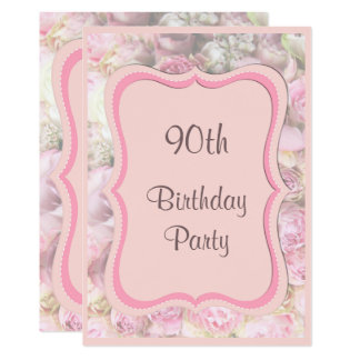 Elegant & Romantic Framed Bouquet 90th Birthday Card