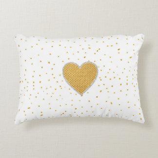 Elegant romantic gold heart faux glitter dots accent pillow