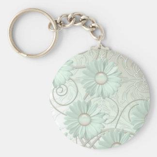 Elegant Romantic Green Damask Keychain Keychains