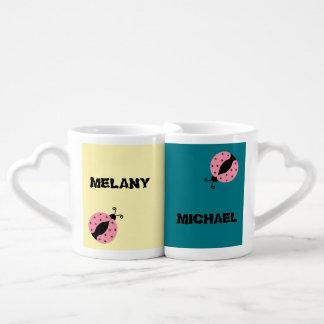 Elegant romantic ladybugs personalized coffee mug set