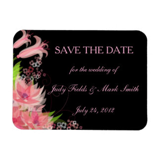 Elegant Romantic Pink Floral Save The Date Magnet