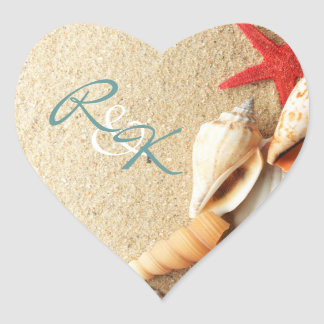 elegant romantic sand seashells beach wedding heart sticker