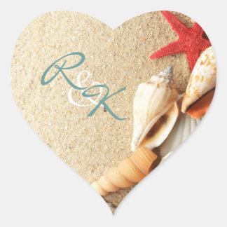 elegant romantic sand seashells beach wedding heart sticker