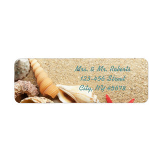 elegant romantic sand seashells beach wedding label
