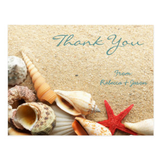 elegant romantic seashells beach wedding thank you post cards