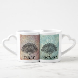 Elegant romantic vintage fan / add name lovers mug sets