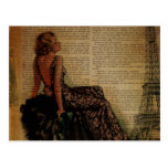 elegant  romantic vintage girly paris fashion postcard