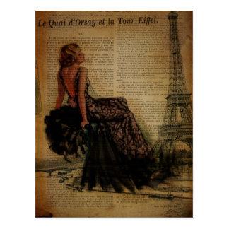 elegant  romantic vintage girly paris fashion postcard
