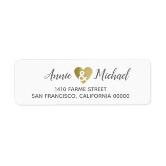 elegant romantic wedding bride groom address label
