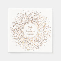 Elegant Romantic Wedding Gold & Silver Confetti Paper Napkin