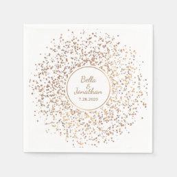 Elegant Romantic Wedding Gold & Silver Confetti Paper Napkin