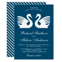 Elegant Romantic White Swans Wedding Invitation