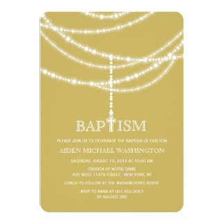 "Elegant Rosary Cross Sparkles Baptism Invitation 5"" X 7"" Invitation Card"