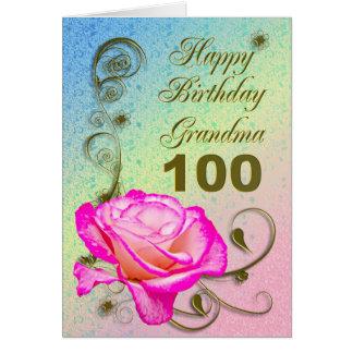 Elegant rose 100th birthday card for Grandma