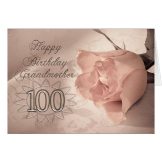 Elegant rose 100th birthday card for Grandmother