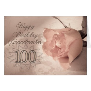 Eggznbeenz Elegant rose 100th birthday card for Grandmother