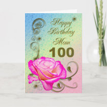 Elegant rose 100th birthday card for Mom
