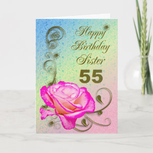 Elegant Rose 55th Birthday Card For Sister