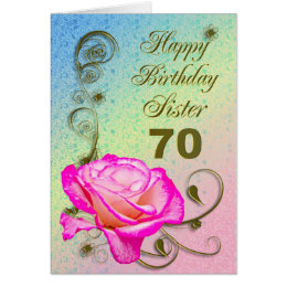 Sisters 70th birthday cards greeting photo cards zazzle elegant rose 70th birthday card for sister bookmarktalkfo Image collections