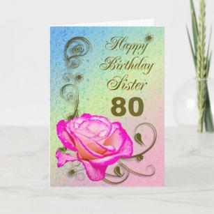 Elegant Rose 80th Birthday Card For Sister