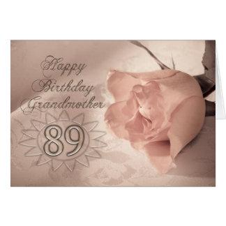 Elegant rose 89th birthday card for Grandmother