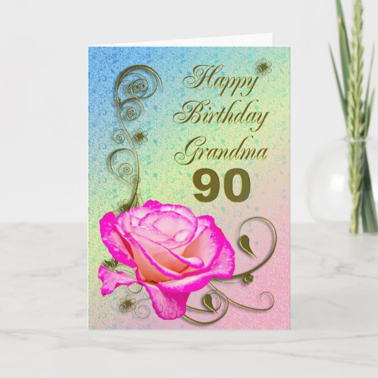 Elegant Rose 90th Birthday Card For Grandma