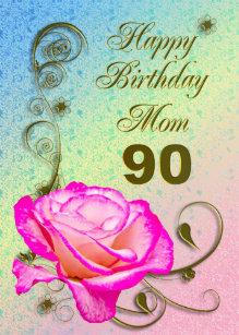 Elegant Rose 90th Birthday Card For Mom