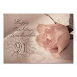 Elegant rose 91st birthday card for Grandmother
