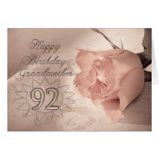 Elegant rose 92nd birthday card for Grandmother