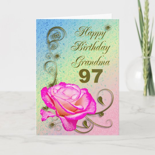 Elegant Rose 97th Birthday Card For Grandma
