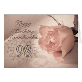 Elegant rose 98th birthday card for Grandmother