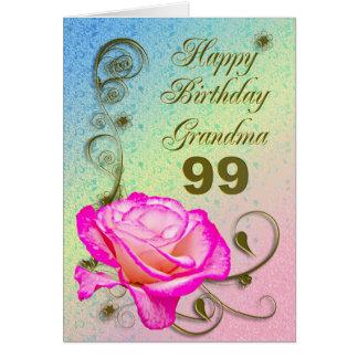 Elegant rose 99th birthday card for Grandma