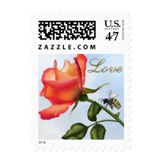 Elegant Rose and Bee - 1 Stamp