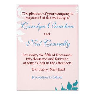 Elegant Rose and Blue Leaves Wedding Invitation