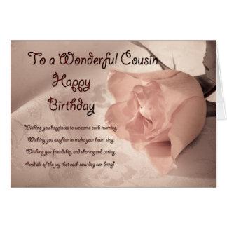Elegant rose birthday card for cousin