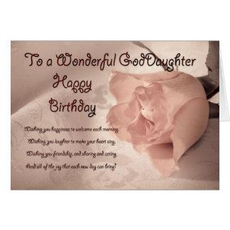Elegant rose birthday card for Goddaughter