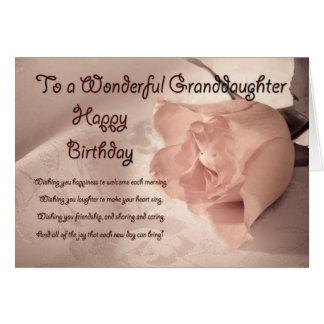 Elegant rose birthday card for granddaughter
