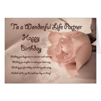 Elegant rose birthday card for life partner