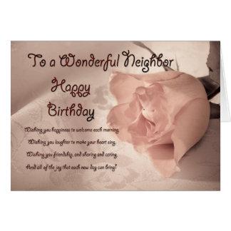 Elegant rose birthday card for neighbor