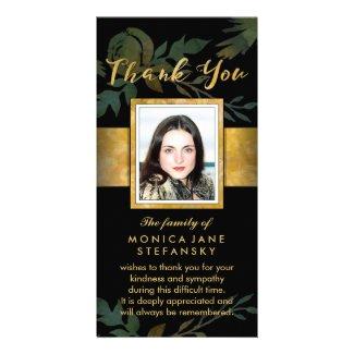 Elegant Rose Black & Gold Photo Floral Thank You