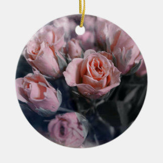 Elegant Rose Bouquet Double-Sided Ceramic Round Christmas Ornament
