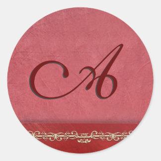 Elegant rose colored monogram envelope seals classic round sticker