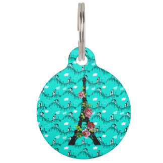 Elegant Rose Eiffel Tower on Turquoise Village Pet Tag