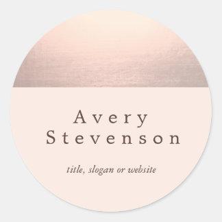 Elegant Rose Gold Accent  Modern Light Pink Classic Round Sticker