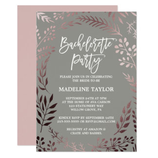 Elegant Rose Gold and Gray Bachelorette Party Card