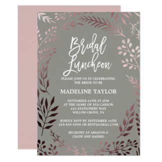 Elegant Rose Gold and Gray Bridal Luncheon Card