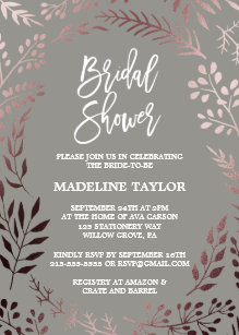 Elegant Rose Gold And Gray Bridal Shower Invitation