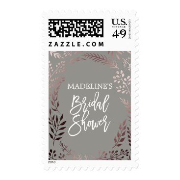 Beach Themed Elegant Rose Gold and Gray Bridal Shower Postage